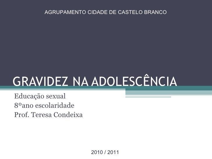 GRAVIDEZ NA ADOLESCÊNCIA Educação sexual 8ºano escolaridade Prof. Teresa Condeixa AGRUPAMENTO CIDADE DE CASTELO BRANCO 201...