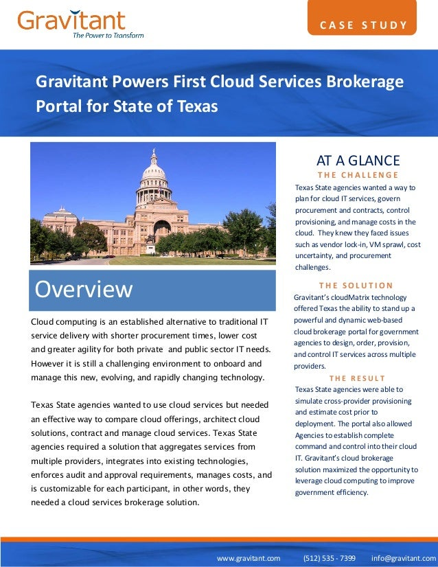 CASE STUDY Gravitant Powers First Cloud Services Brokerage Portal for State of Texas                                      ...
