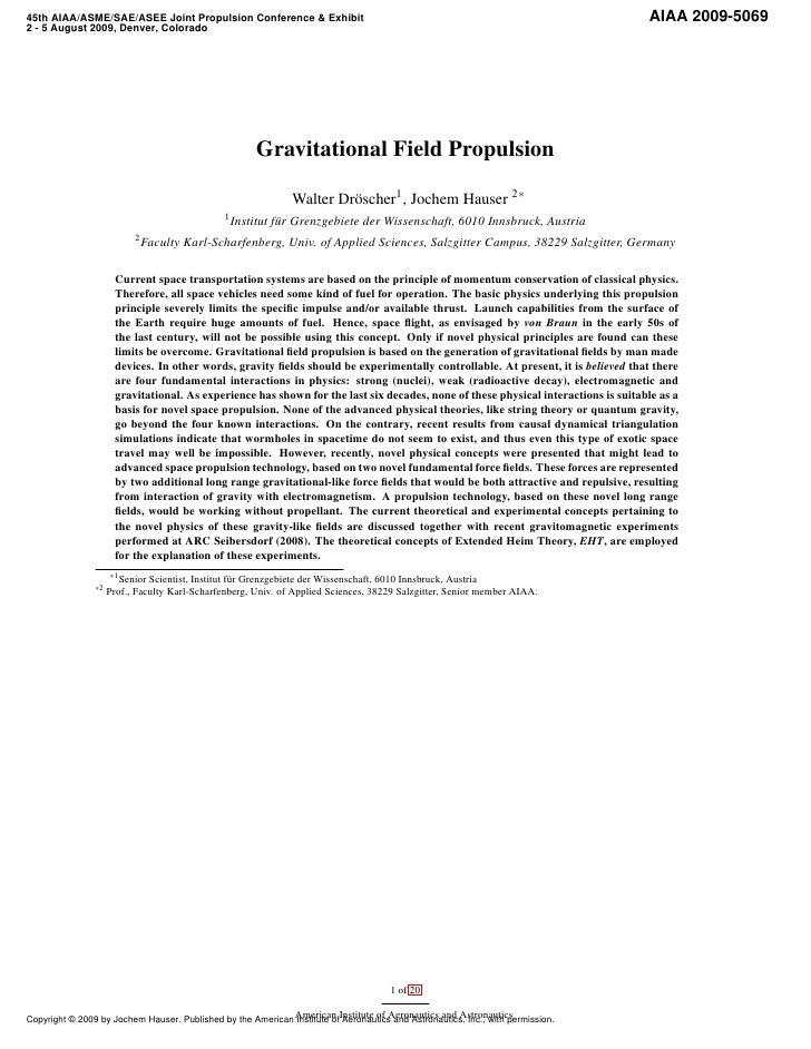 Gravitational field propulsion