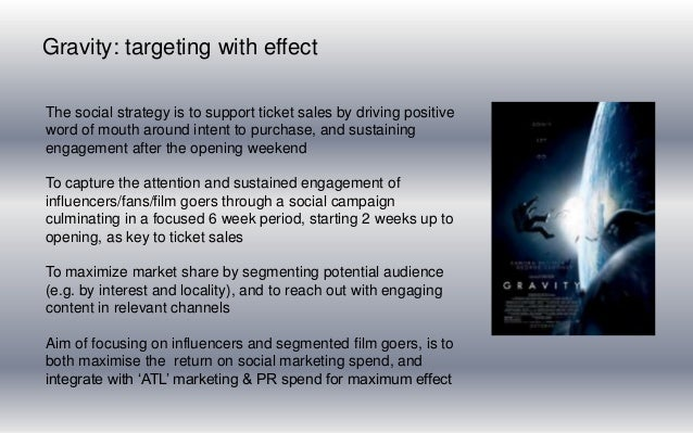 Gravity social marketing presentation for Warner Bros