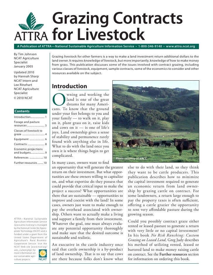 Grazing Contracts                                             for Livestock    A Publication of ATTRA—National Sustainable...