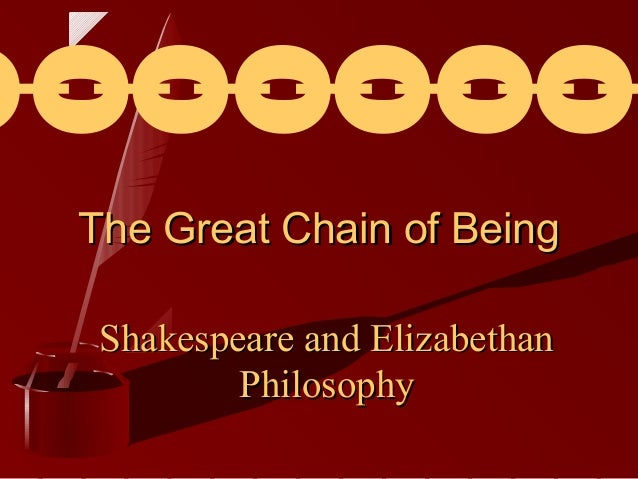 I O I O I O I O I O I O The Great Chain of Being Shakespeare and Elizabethan Philosophy