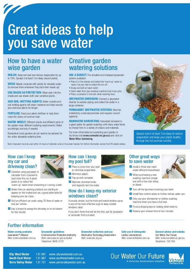 Great ideas to helpyou save waterHow to have a water Creative gardenwise garden         watering solutionsMulch: Keep soil...