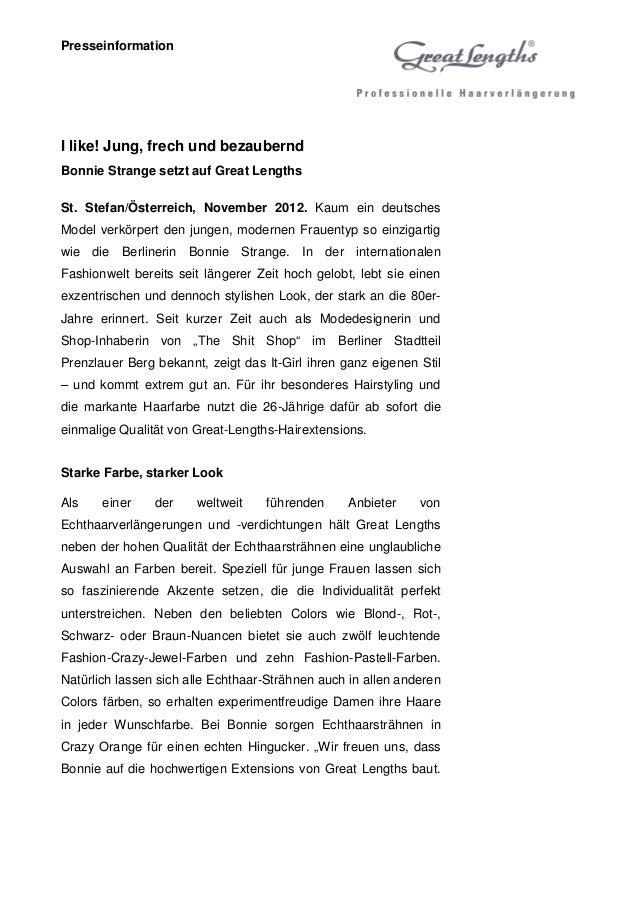 PresseinformationI like! Jung, frech und bezauberndBonnie Strange setzt auf Great LengthsSt. Stefan/Österreich, November 2...