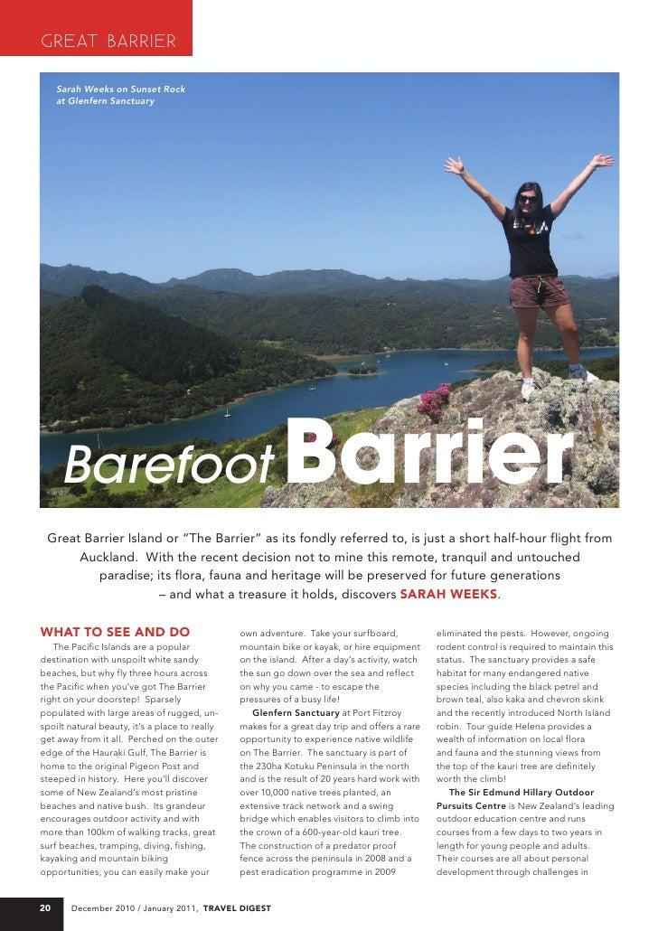 GREAT BARRIER      Sarah Weeks on Sunset Rock      at Glenfern Sanctuary          Barefoot                                ...