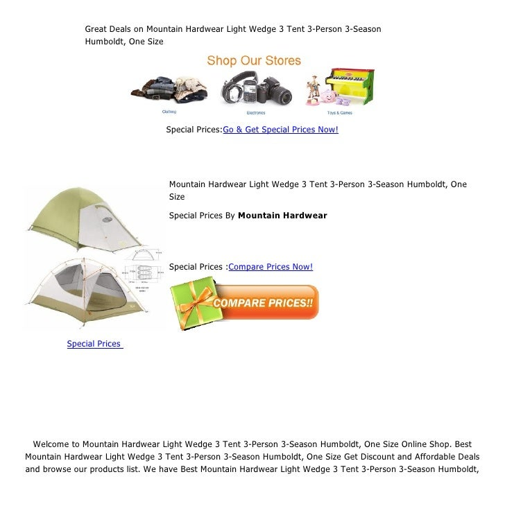 Great Deals on Mountain Hardwear Light Wedge 3 Tent 3-Person 3-Season              Humboldt, One Size                     ...