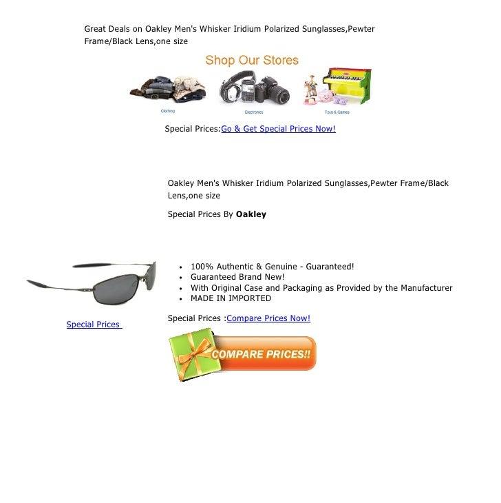 Great Deals on Oakley Mens Whisker Iridium Polarized Sunglasses,Pewter    Frame/Black Lens,one size                       ...
