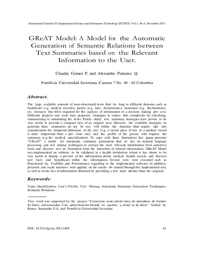 Great model a model for the automatic generation of semantic relations between text summaries based on the relevant information to the user