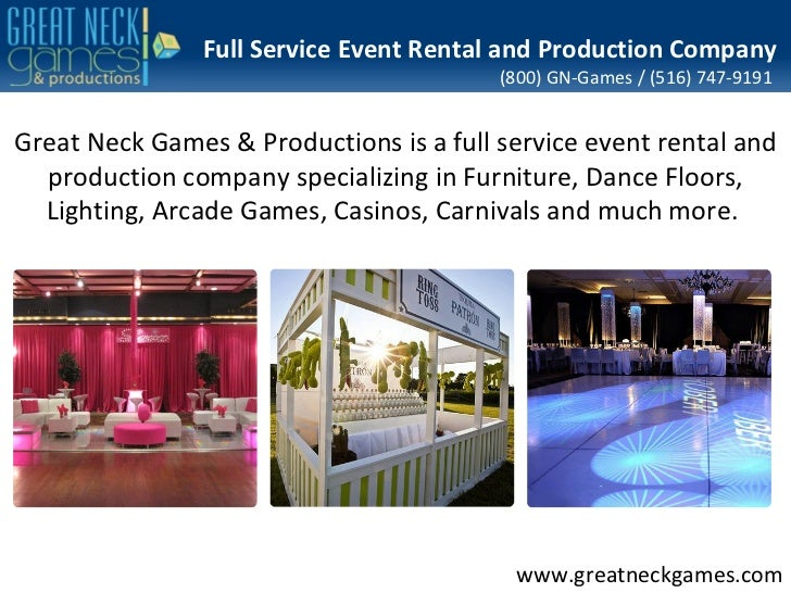 Full Service Event Rental and Production Company                                         (800) GN-Games / (516) 747-9191Gr...