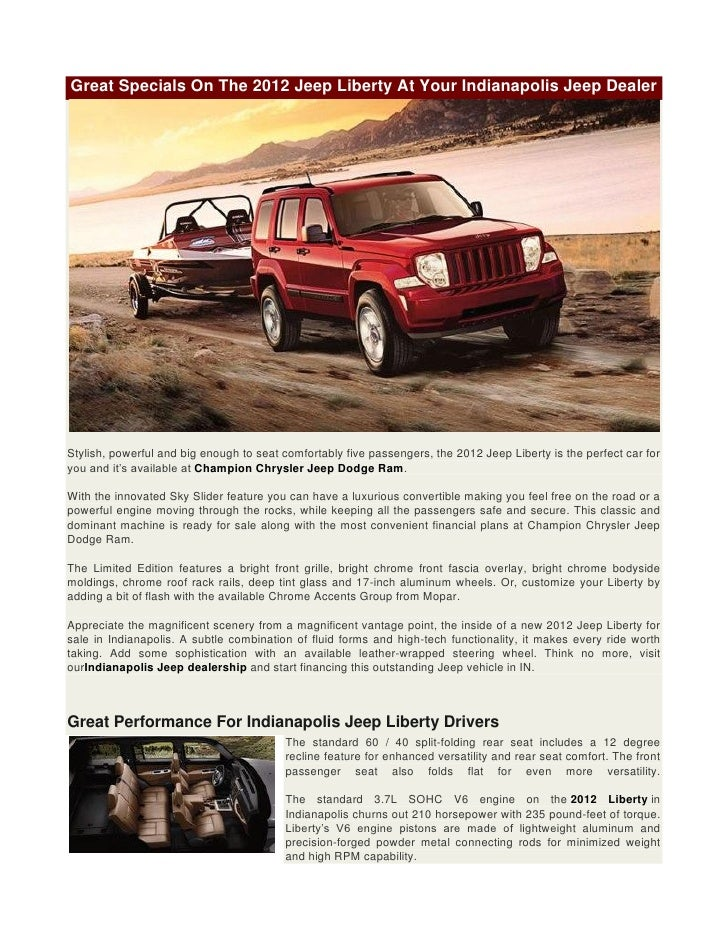 Great Specials On The 2012 Jeep Liberty At Your Indianapolis Jeep Dealer