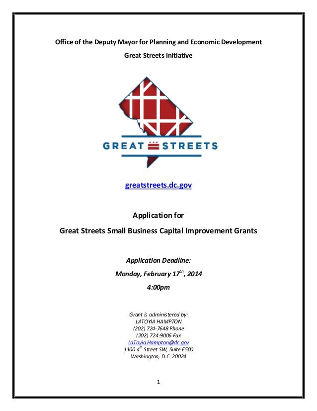 Office of the Deputy Mayor for Planning and Economic Development Great Streets Initiative  greatstreets.dc.gov  Applicatio...