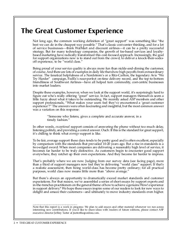 Essays on customer service
