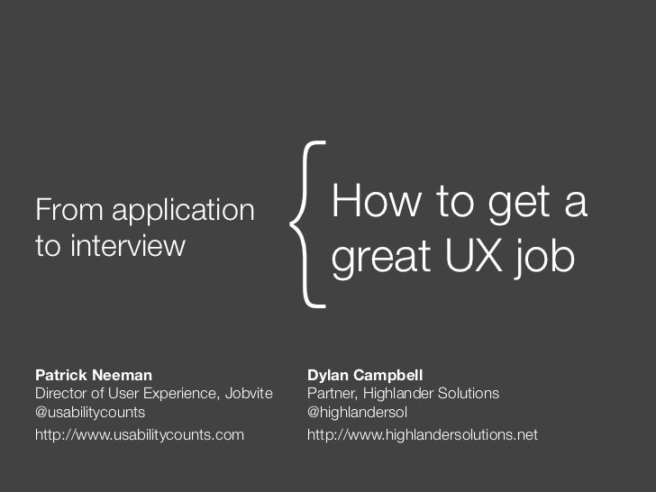 UXSpeakeasy - How To Get A Great UX Job