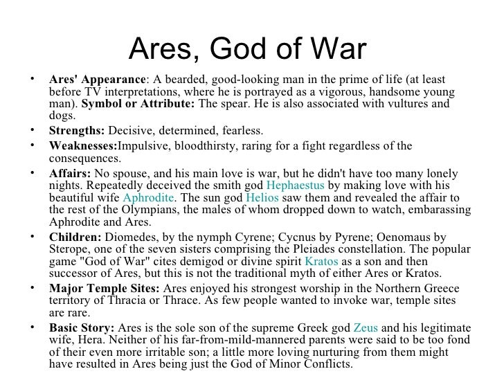 Greek God of War Family Tree Greek God of War Ares Family