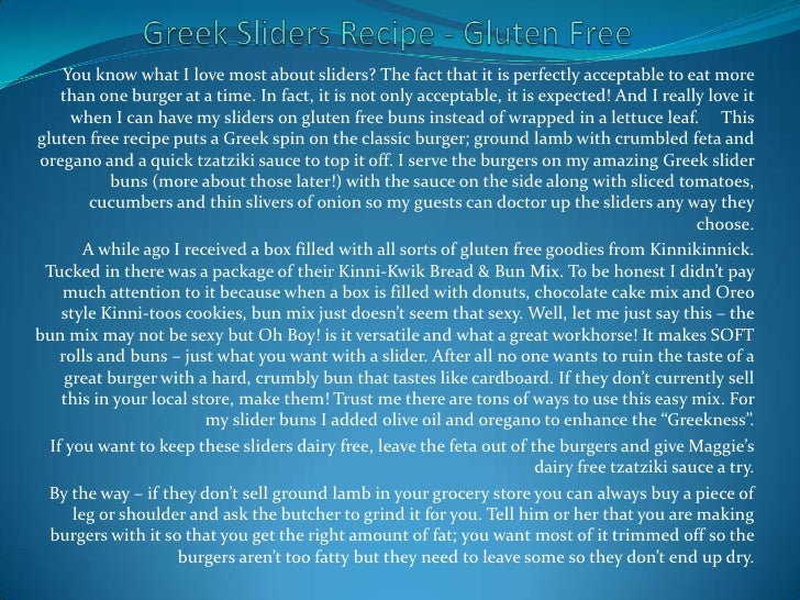 Greek Sliders Recipe - Gluten Free<br />You know what I love most about sliders? The fact that it is perfectly acceptable ...