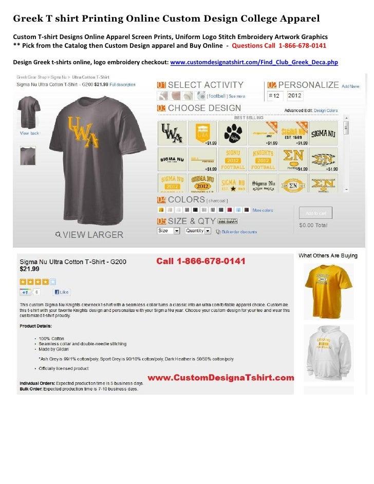 Greek T shirt Printing Online Custom Design College ApparelCustom T-shirt Designs Online Apparel Screen Prints, Uniform Lo...