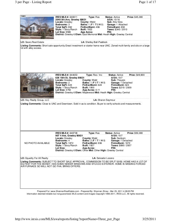 Greeley Short Sale List March 25