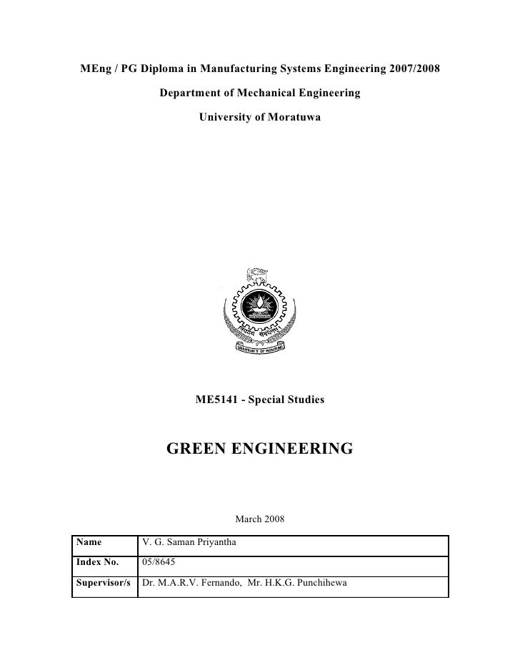 MEng / PG Diploma in Manufacturing Systems Engineering 2007/2008                    Department of Mechanical Engineering  ...