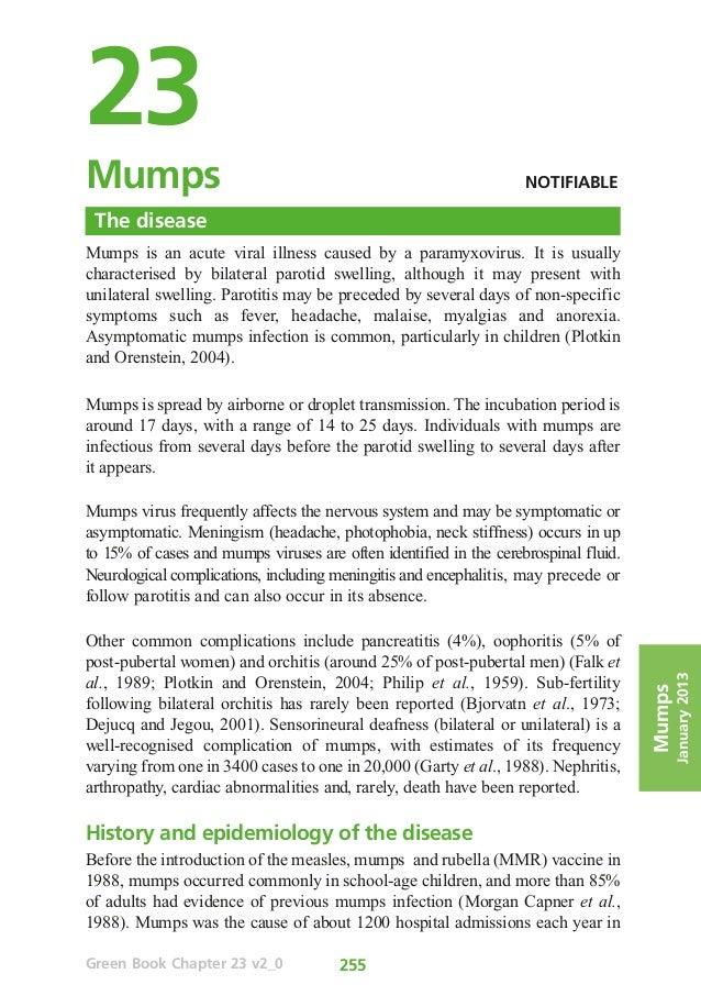 23Mumps                                                             NOTIFIABLE The diseaseMumps is an acute viral illness...