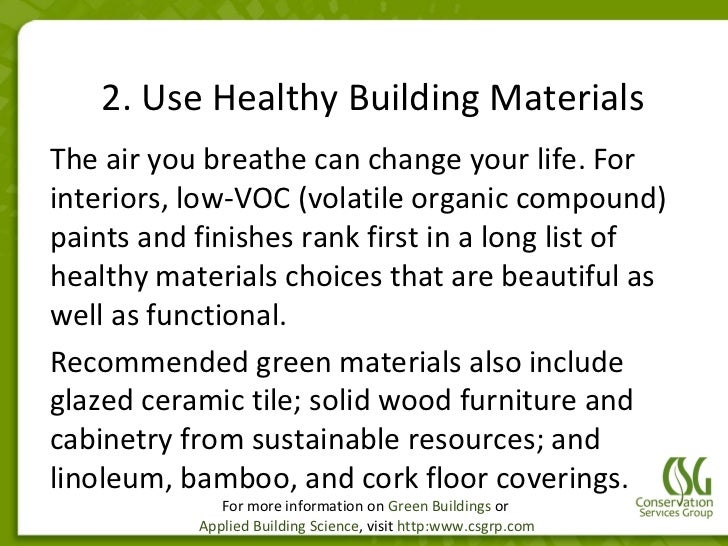 Green building materials list green building construction for Home building materials list