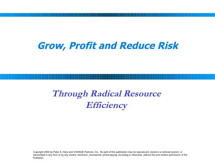 Grow, Profit and Reduce Risk Through Radical Resource Efficiency