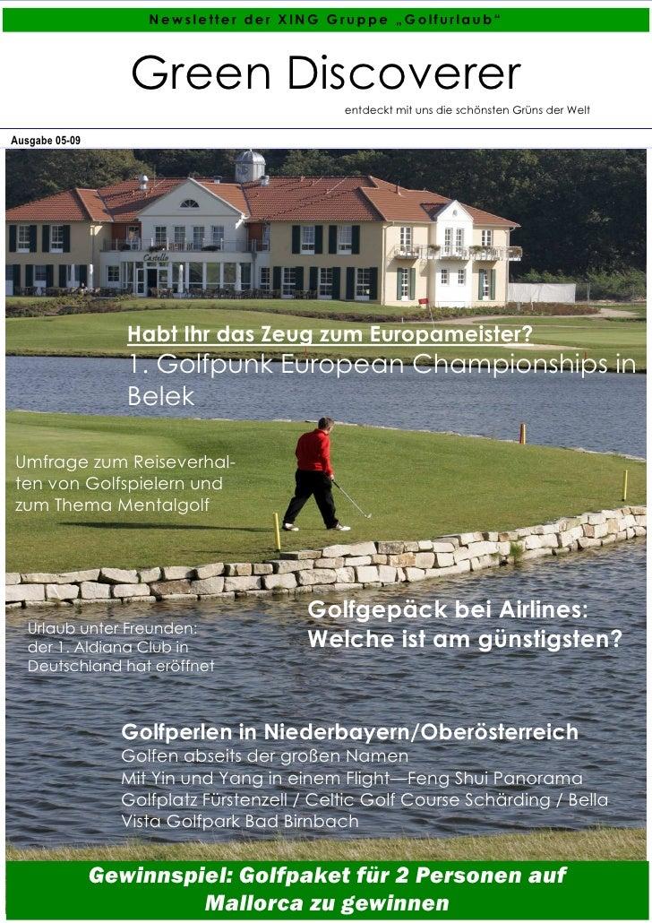 """Newsletter der XING Gruppe """"Golfurlaub""""                       Green Discoverer                                            ..."""