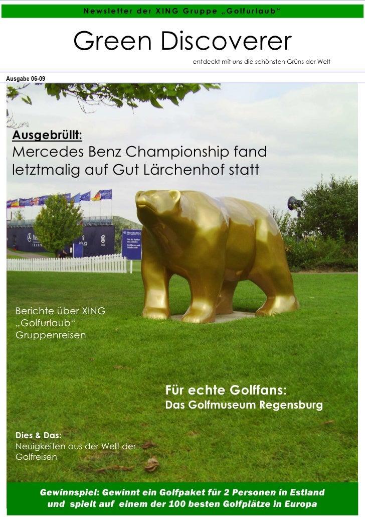 """Newsletter der XING Gruppe """"Golfurlaub""""                     Green Discoverer                                            en..."""