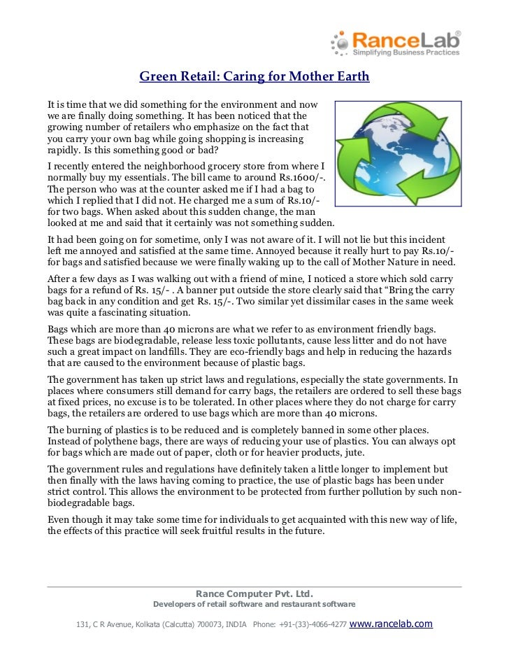 Green Retail: Caring for Mother EarthIt is time that we did something for the environment and nowwe are finally doing some...