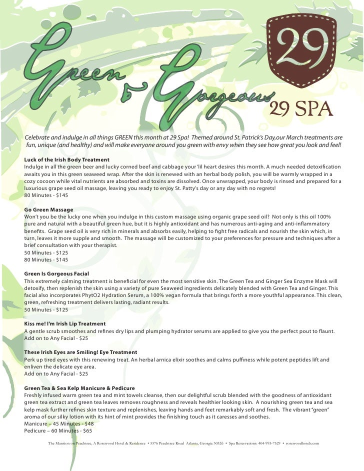 Green&GorgeousCelebrate and indulge in all things GREEN this month at 29 Spa! Themed around St. Patrick's Day,our March tr...