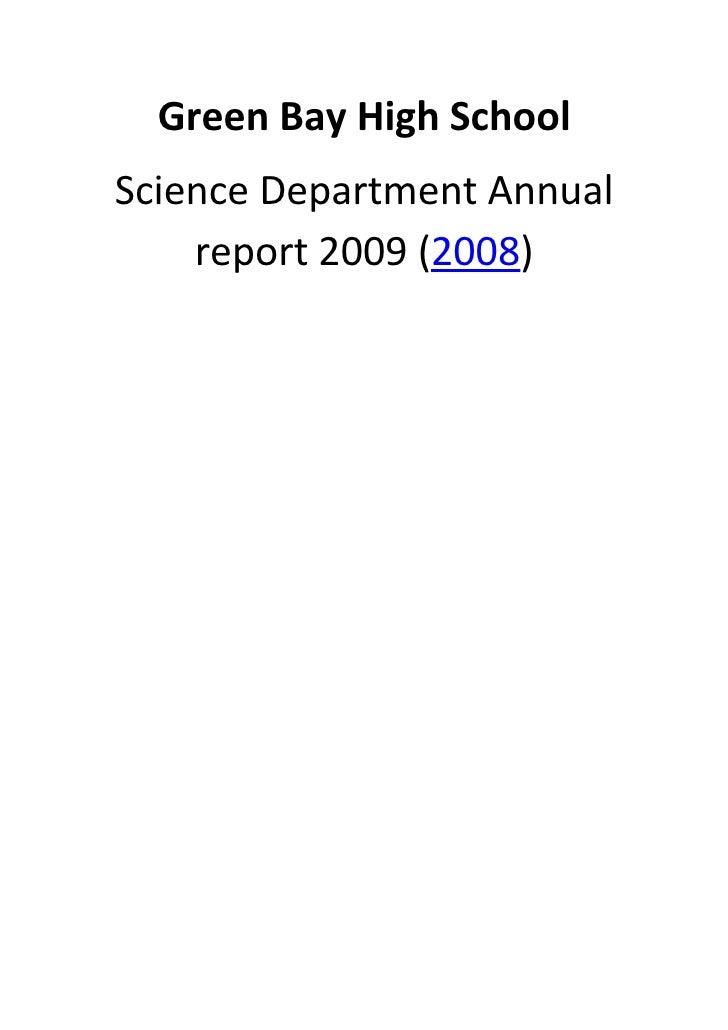 Green Bay High School Science Department Annual     report 2009 (2008)