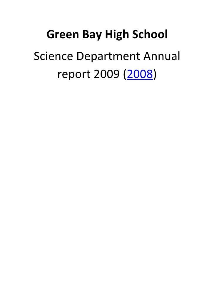 Green Bay High School Annual Report 2009  2008