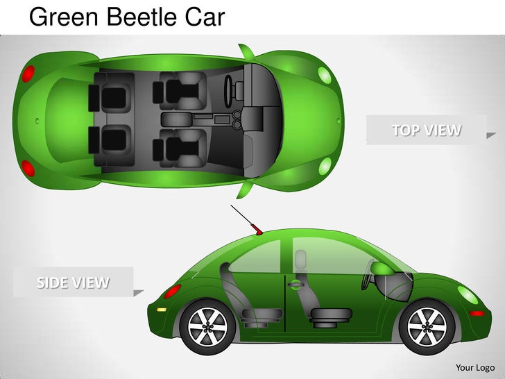 Green beetle car side view powerpoint presentation templates