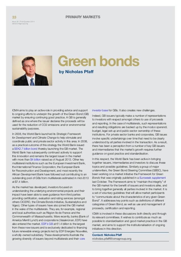 Green bonds - ICMA Quarterly Report 9 January 2014