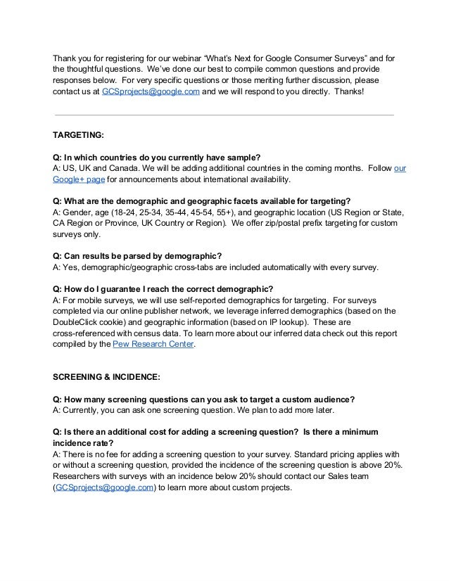 Q&A Google Consumer Surveys