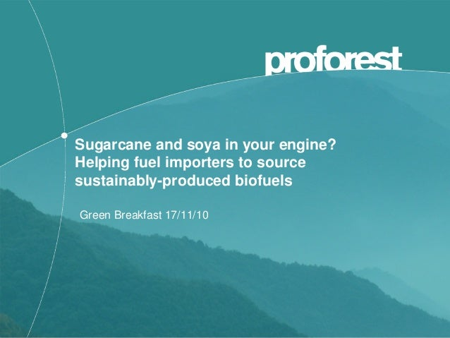 Sugarcane and soya in your engine? Helping fuel importers to source sustainably-produced biofuels Green Breakfast 17/11/10