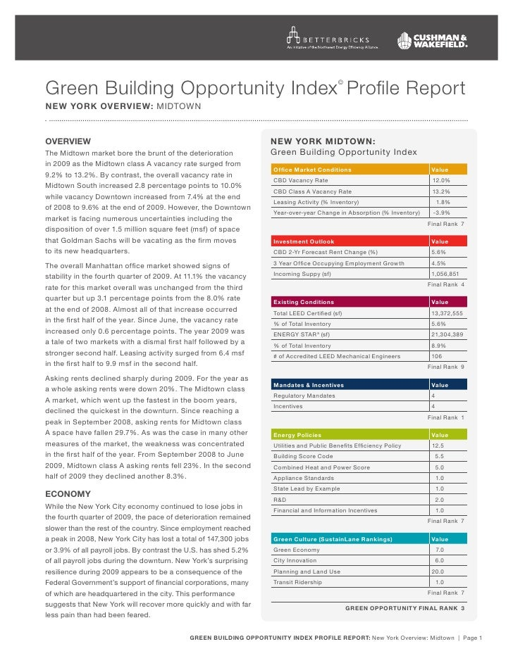 Green Building Opportunity Index Profile Report                                            ©   new yOrk Overview: MidtOwN ...