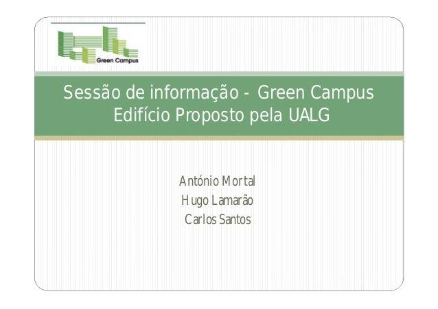 Sessão de informação - Green Campus     Edifício Proposto pela UALG             António Mortal             Hugo Lamarão   ...