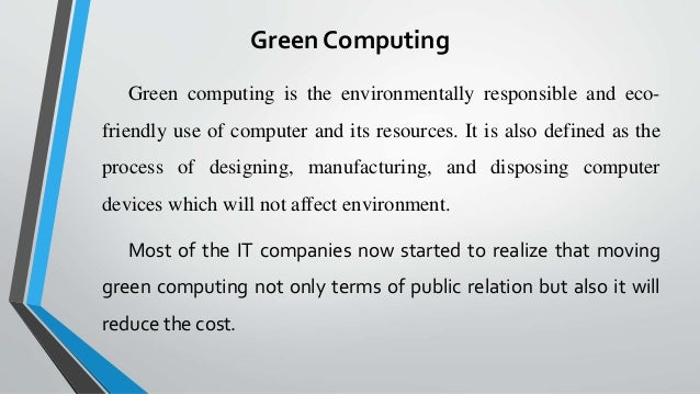 Green computing research papers