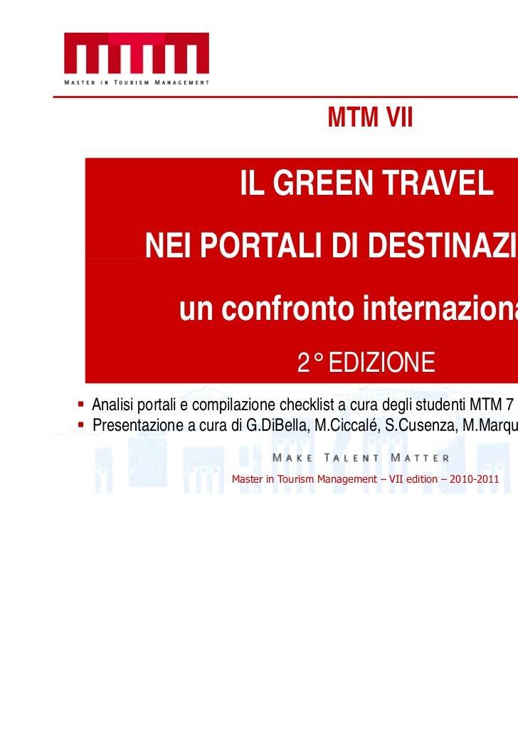 MTM VII                      IL GREEN TRAVEL       NEI PORTALI DI DESTINAZIONE:             un confronto internazionale   ...