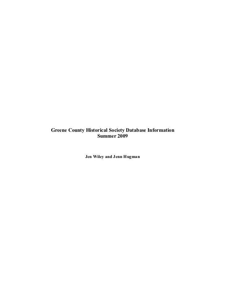 Greene County Historical Society Database Manual