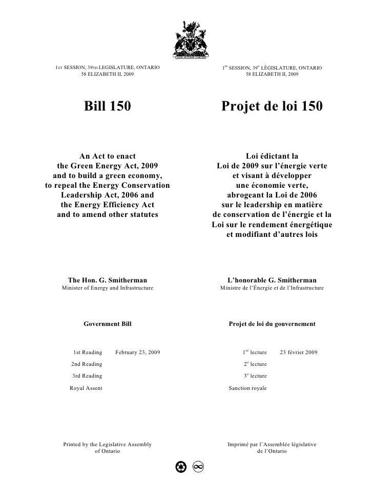1re SESSION, 39e LÉGISLATURE, ONTARIO   1ST SESSION, 39TH LEGISLATURE, ONTARIO             58 ELIZABETH II, 2009          ...