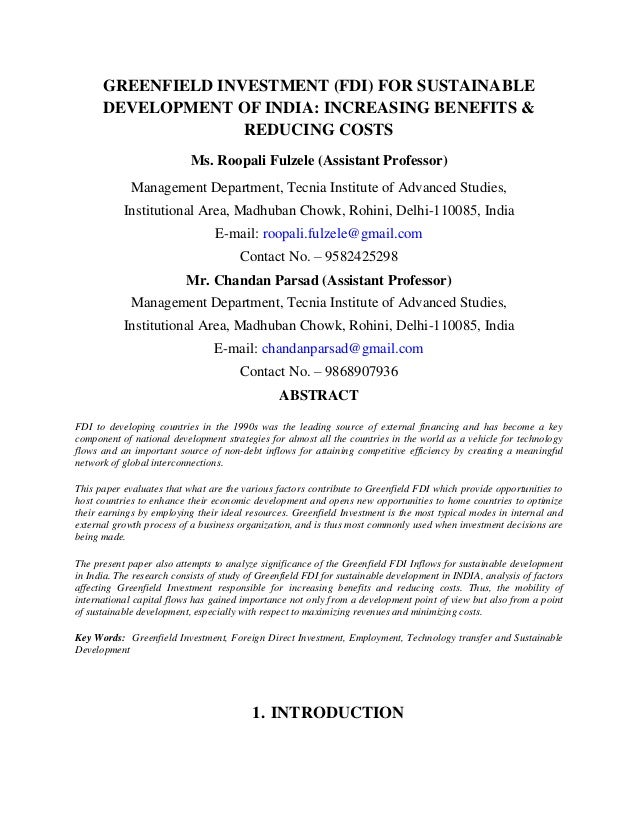 Greenfield fdifor sustainable development of india
