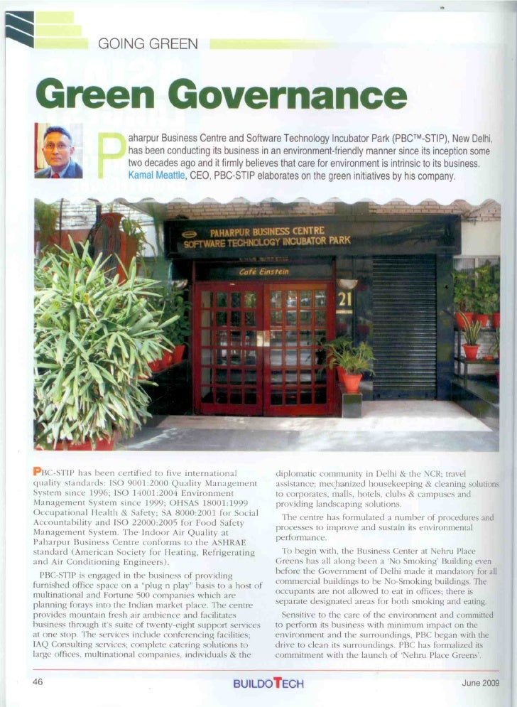 Green Governance,Article In Buildotech June 2009