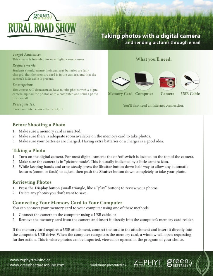 Green Hectares Rural Tech Factsheet - Digital Camera & Emailing Pictures