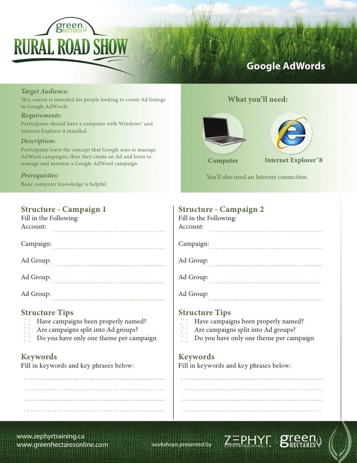 Green Hectares Rural Tech Factsheet – Google AdWords