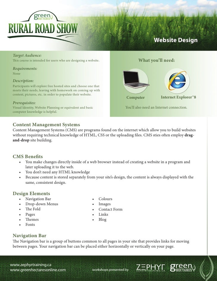Website DesignTarget Audience:This course is intended for users who are designing a website.                       What yo...