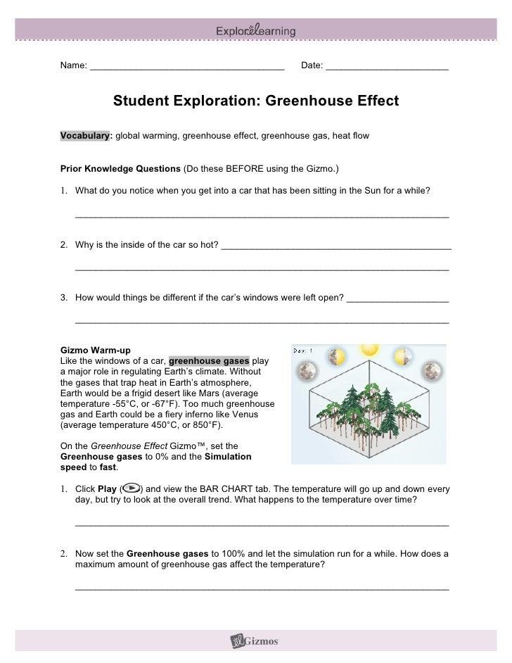 Greenhouse Effect Worksheet