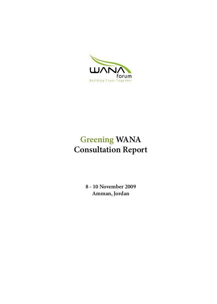 Greening WANA Consultation Report 2009