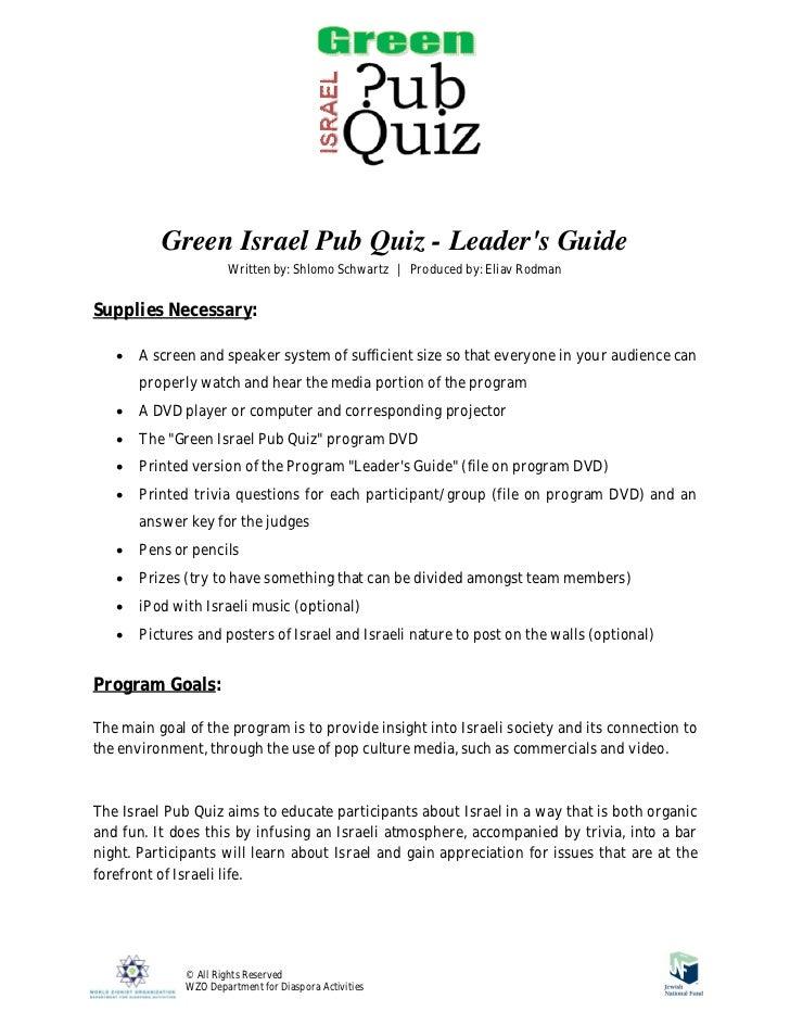 Green israel pub quiz   leaders guide