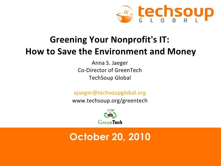 Greening Your Nonprofit's IT: How to Save the Environment and Money
